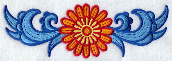 Suzani daisy border machine embroidery design.