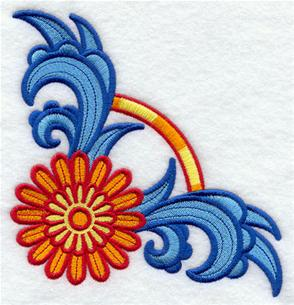 Suzani daisy corner machine embroidery design.