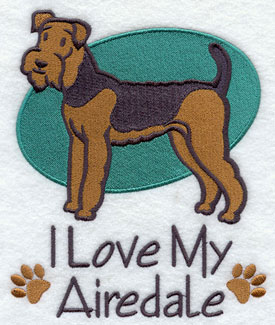 I Love My Airedale dog machine embroidery design.