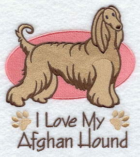 I Love My Afghan Hound dog machine embroidery design.