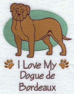 I Love My Dogue de Bordeaux dog machine embroidery design.