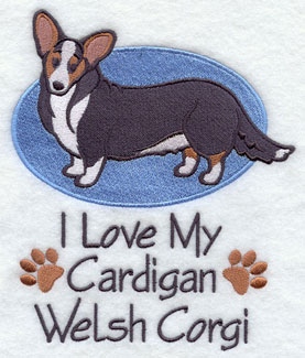 I Love My Cardigan Welsh Corgi dog machine embroidery design.
