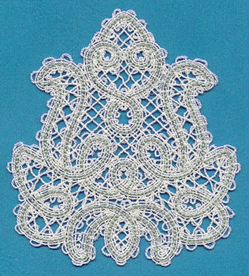 A Battenburg lace floral feature machine embroidery design.