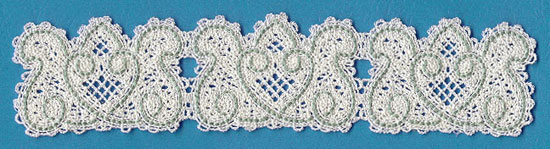 A Battenburg lace floral border machine embroidery design.