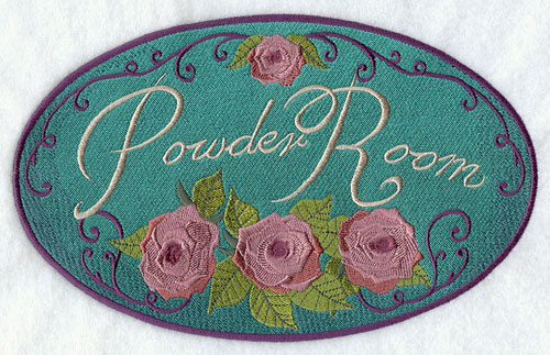 "A Victorian-era bathroom sign that says ""Powder Room."""