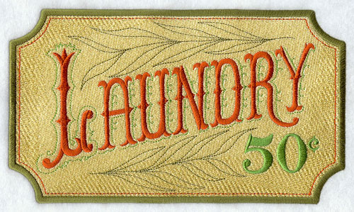 "A Victorian-era bathroom sign that says ""Laundry 50 Cents."""