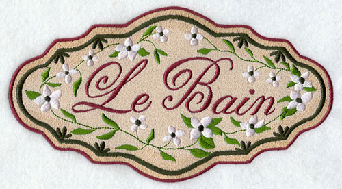 "A Victorian-era bathroom sign that says ""Le Bain."""