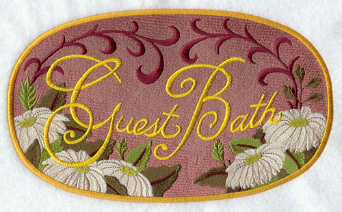 "A Victorian-era bathroom sign that says ""Guest bath."""