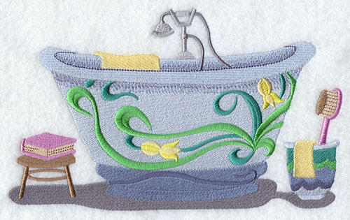 A bathtub decorated with Art Nouveau flowers machine embroidery design.