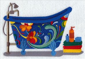 A bathtub decorated with Rosemaling flowers machine embroidery design.