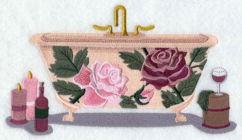 A bathtub decorated with Victorian roses machine embroidery design.