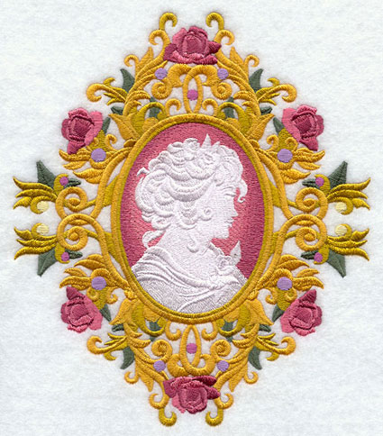 A Victorian style cameo with a woman surrounded by golden scrollwork and roses.