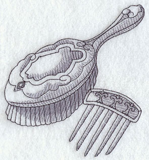 A sketchbook-style Victorian hairbrush machine embroidery design.