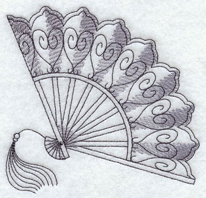 A sketchbook-style Victorian hand fan machine embroidery design.