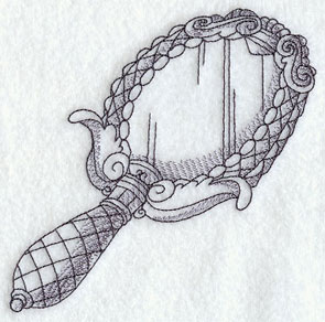 A sketchbook-style Victorian hand mirror machine embroidery design.