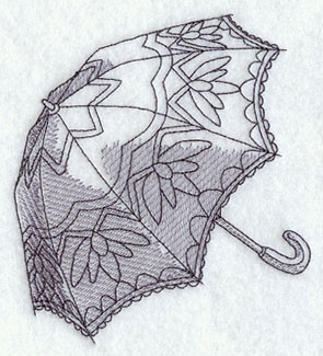 A sketchbook-style Victorian parasol machine embroidery design.