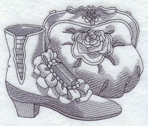 A sketchbook-style Victorian purse and shoes machine embroidery design.