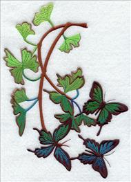 Butterflies float among garden plants machine embroidery design.