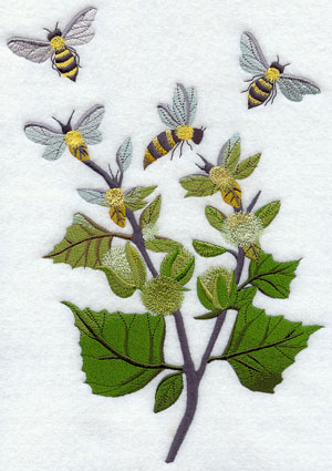 Bees fly among garden plants machine embroidery design.