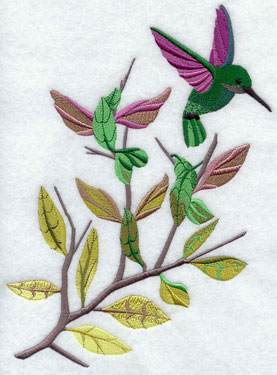 Hummingbirds float among garden plants machine embroidery design.