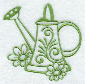 A one-color watering can machine embroidery design.