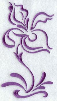 A one-color iris blossom machine embroidery design.