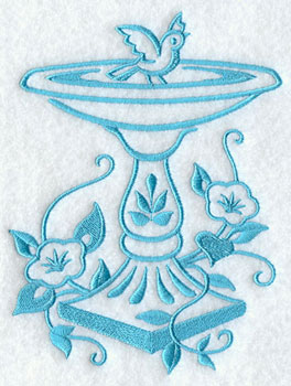A one-color birdbath machine embroidery design.
