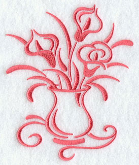A one-color calla lily and vase machine embroidery design.