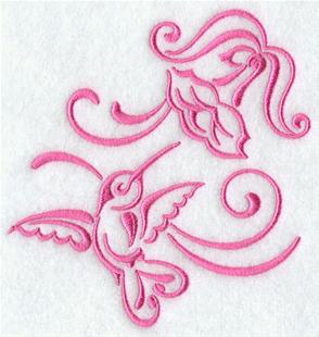 A one-color hummingbird and flower machine embroidery design.