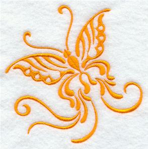 A one-color butterfly machine embroidery design.