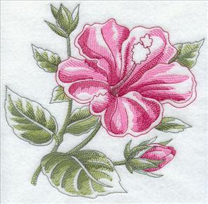 A blooming hibiscus machine embroidery design.