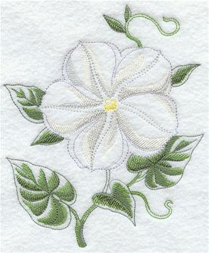 A blooming moonflower machine embroidery design.