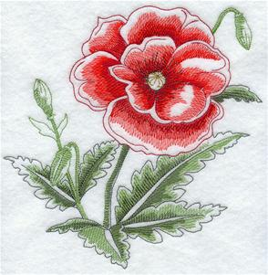 A blooming poppy machine embroidery design.