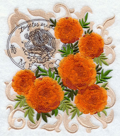 A marigold machine embroidery design with filigree and symbols of Mexico