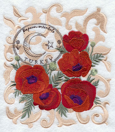 A poppy machine embroidery design with filigree and symbols of Turkey.