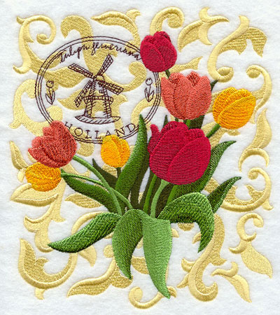A tulip machine embroidery design with filigree and symbols of Holland