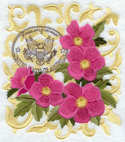 A wild rose machine embroidery design with filigree and symbols of the United States.
