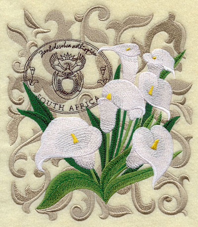A calla lily machine embroidery design with filigree and symbols of South Africa.