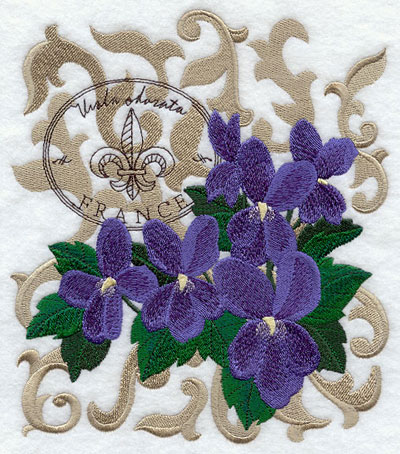 A violet machine embroidery design with filigree and symbols of France.