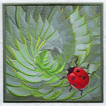 An intense closeup of a succulent plant with a ladbybug landing on it machine embroidery design.