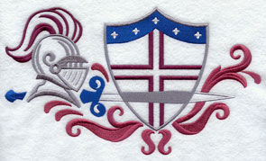Knight's helmet, sword, and shield machine embroidery design.