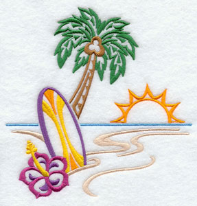 A surfboard, palm tree, and hibiscus on a tropical beach machine embroidery design.