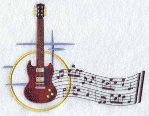 A guitar with musical notes machine embroidery design.