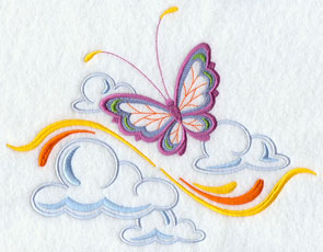 A butterfly and clouds machine embroidery design.