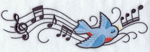 A bird with musical notes machine embroidery design.