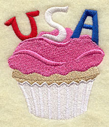 A patriotic cupcake machine embroidery design with the word USA decoration.