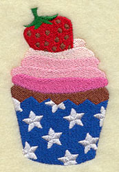 A patriotic cupcake machine embroidery design with red, white, and blue frosting and star decorations.