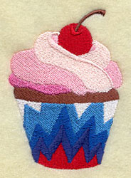 A patriotic Fourth of July cupcake machine embroidery design with a cherry on top.