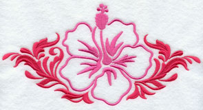 A damask hibiscus machine embroidery design.