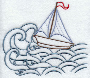 A sailboat on the ocean machine embroidery design.